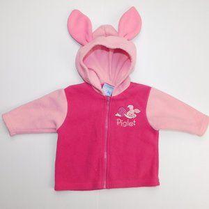 Disney 6 month PIGLET Fleece Full Zip Hoodie Ears